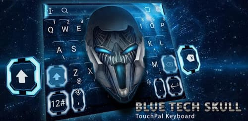 Blue Tech Metallic Skull Theme на андроид