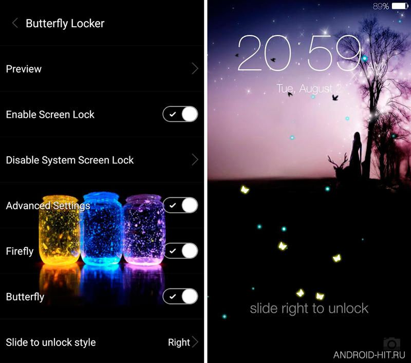 Скриншот Butterfly locksreen на андроид